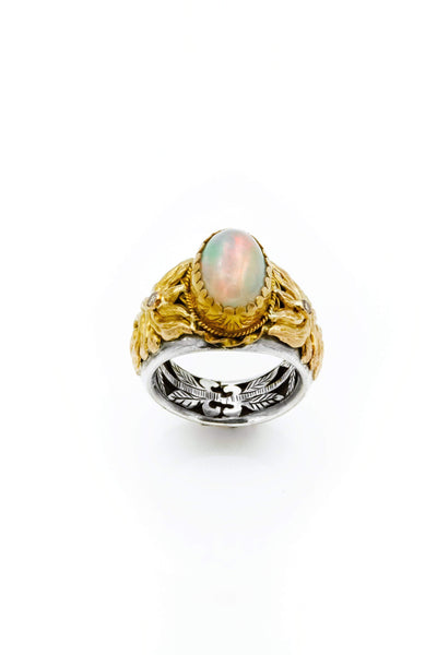 Ethiopian Opal & Diamonds Gold & Silver Ring - Inaya Jewelry
