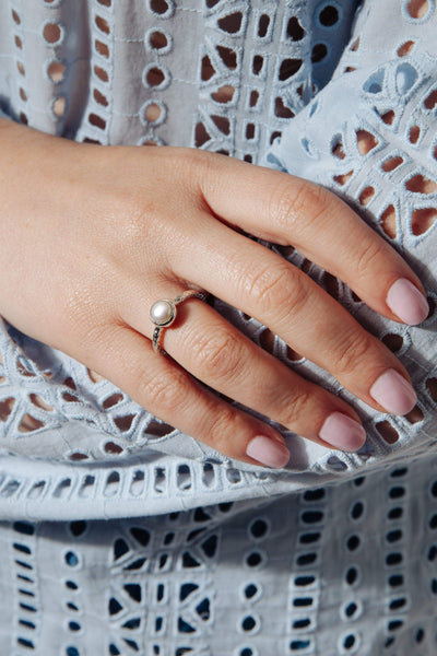 White Pearl Fine Band Ring - Inaya Jewelry