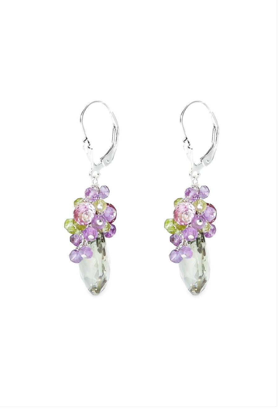 Amethyst, Pink Topaz & Peridot Grapevine Earrings - Inaya Jewelry