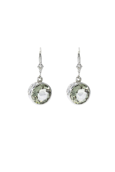 Green Amethyst Bezel Earrings - Inaya Jewelry