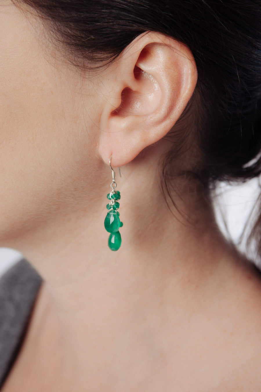 Green Onyx Double Cluster Earrings - Inaya Jewelry