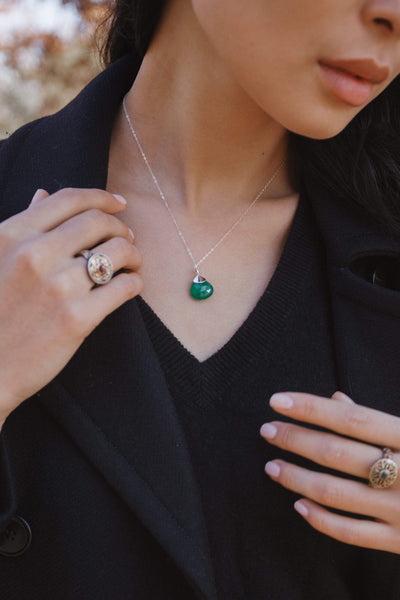 Green Onyx Drop Pendant - Inaya Jewelry