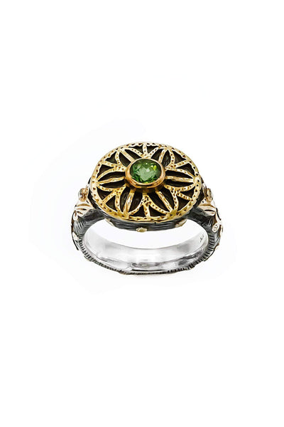 Green Tourmaline & Diamonds Gold & Silver Ring - Inaya Jewelry