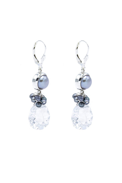 Himalayan Crystal & Pearls Fantasy Drop Earrings - Inaya Jewelry