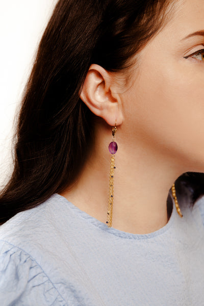 African Amethyst Feather Earrings - Inaya Jewelry