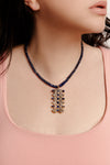 Kyonite and Flat Cut Diamonds Necklace - Inaya Jewelry