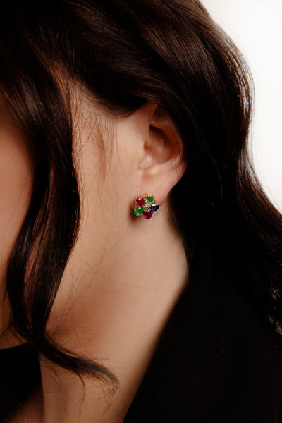Ruby, Emerald, Sapphire and Flat Cut Diamonds Stud Earrings - Inaya Jewelry