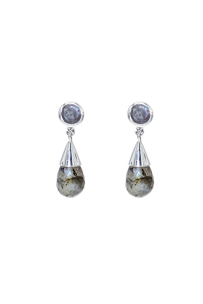 Labradorite Silver Drop Earrings - Inaya Jewelry