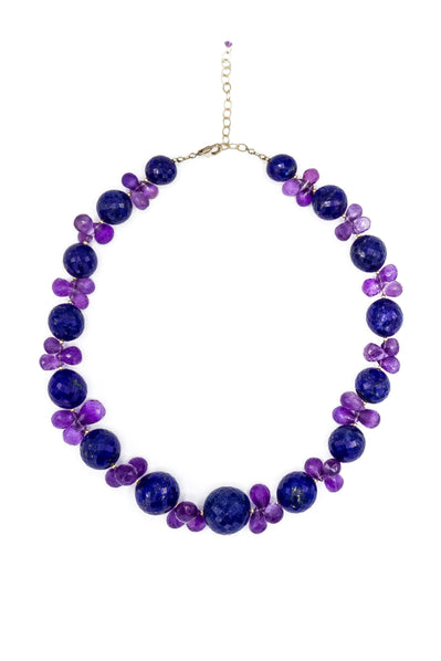 Lapis Lazuli & African Amethyst Necklace - Inaya Jewelry