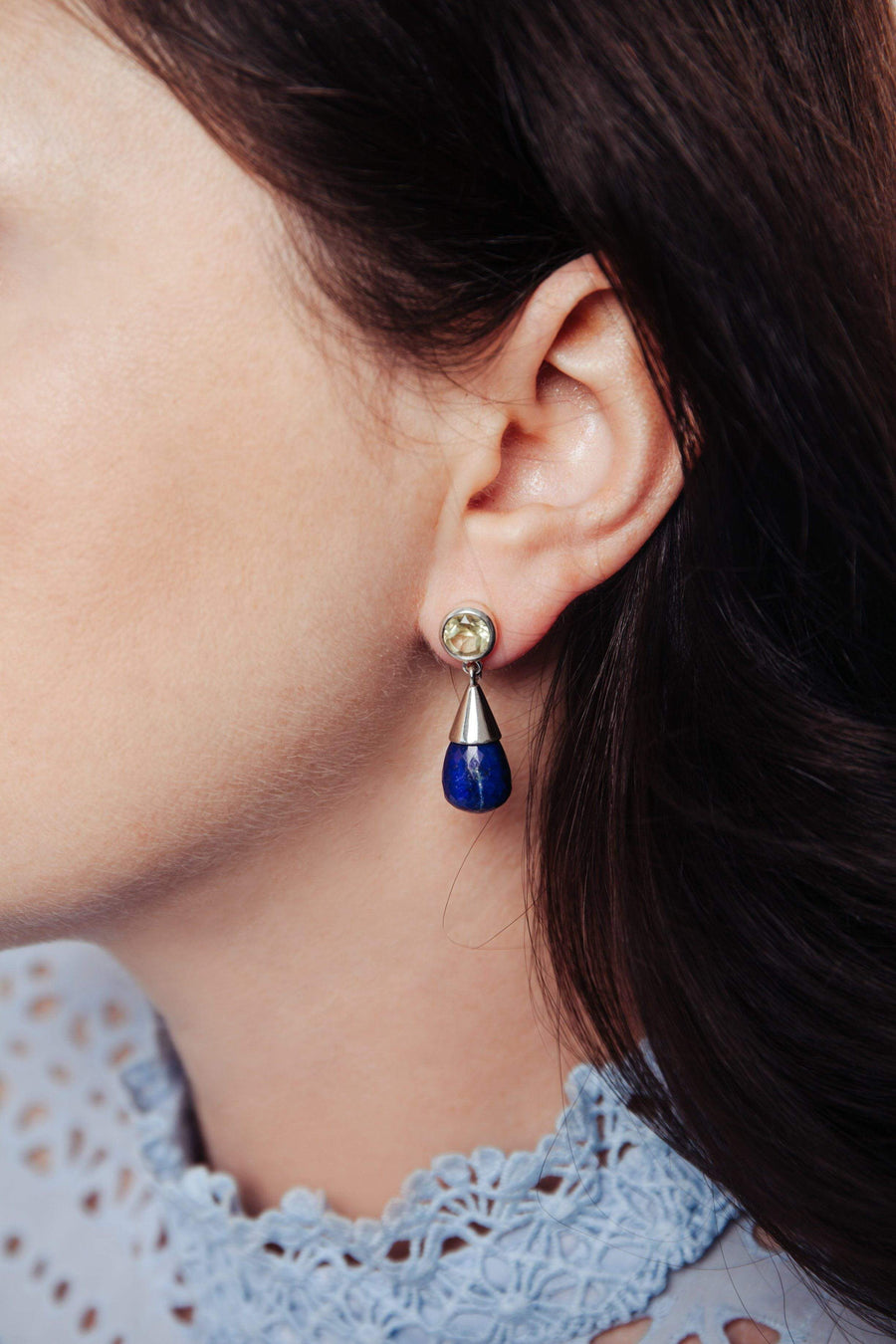 Lapis Lazuli & Lemon Topaz Silver Drop Earrings - Inaya Jewelry