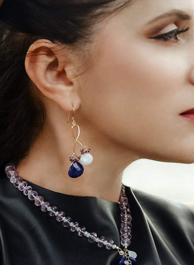 Lapis And Moonstone Swirl Earrings - Inaya Jewelry