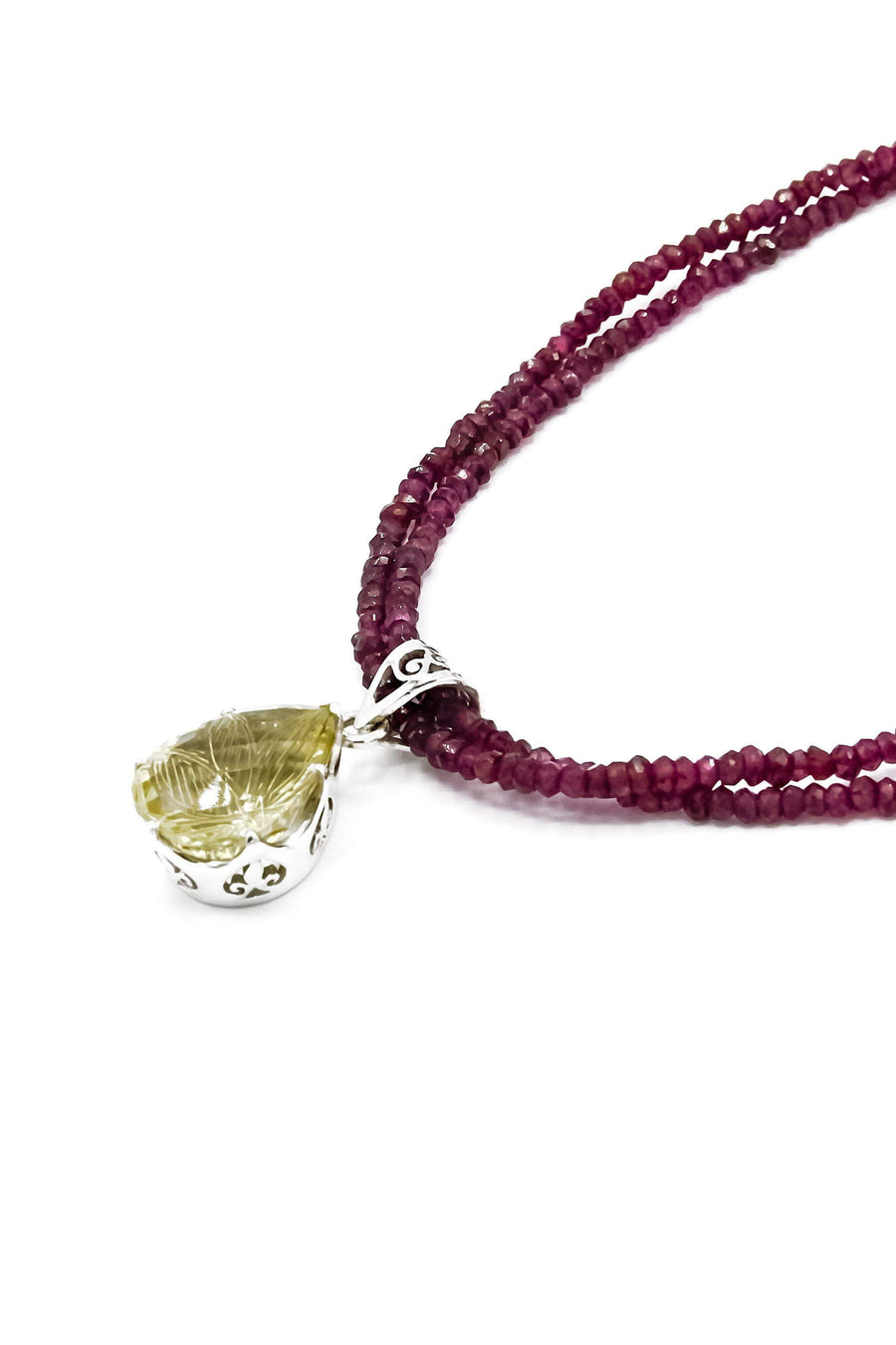 Carved Lemon Topaz on Garnet Pendant - Inaya Jewelry
