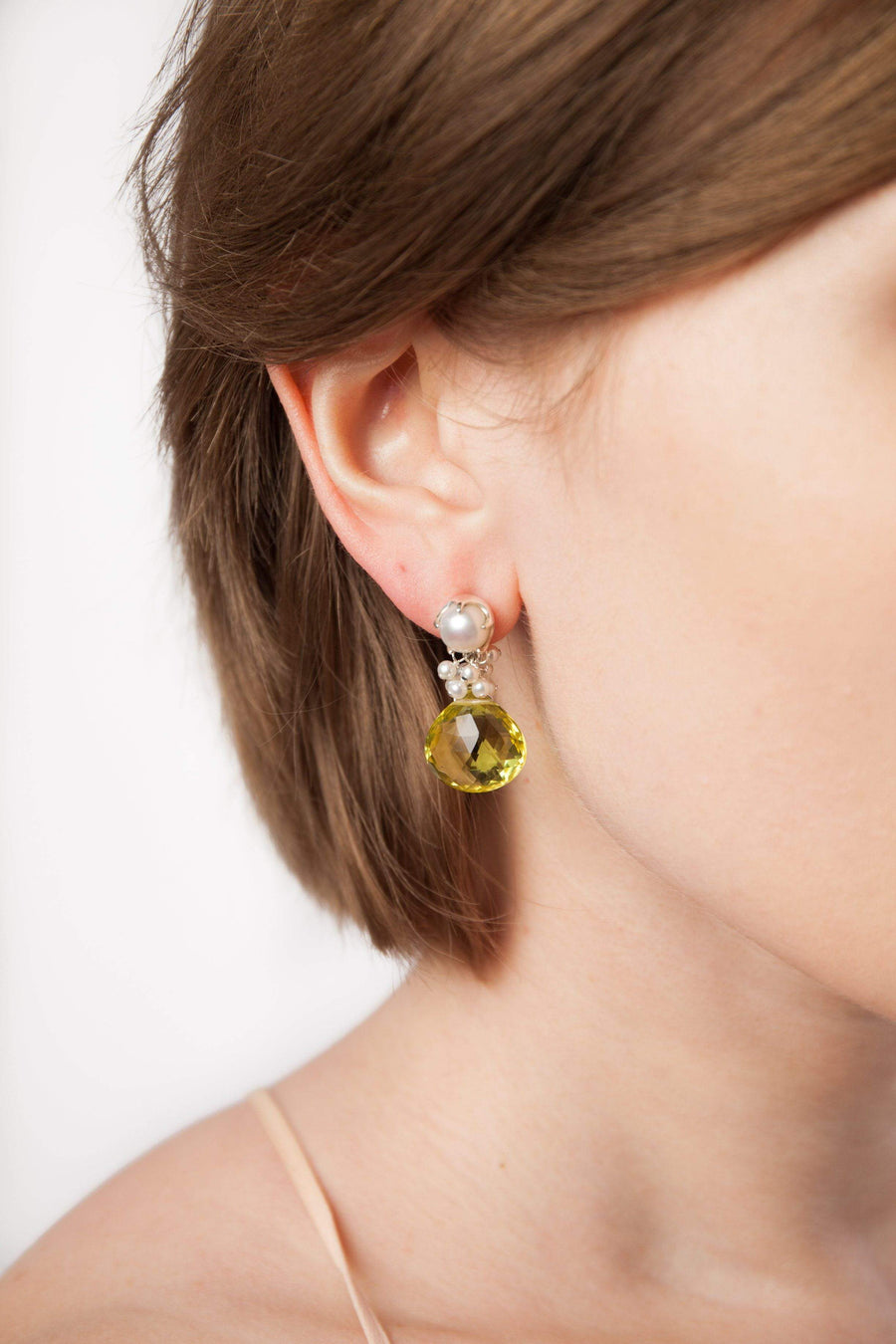 Lemon Topaz & Fresh Water Pearl Fantasy Drop Earrings - Inaya Jewelry