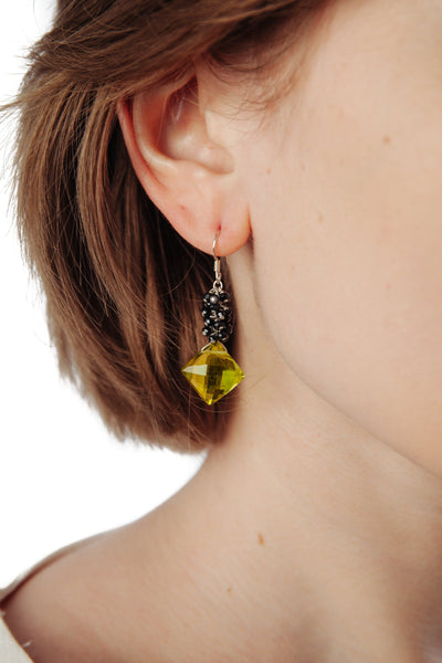 Lemon Topaz & Black Spinel Cluster Earrings - Inaya Jewelry