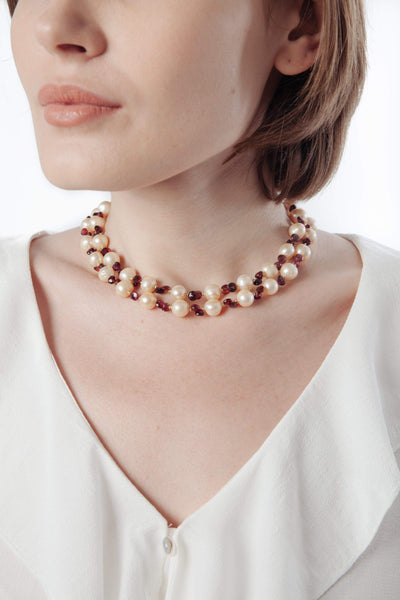 Peach Pearl & Garnet Necklace - Inaya Jewelry