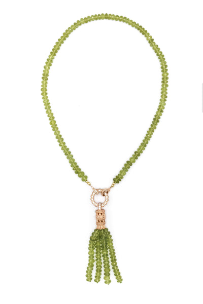 Peridot Tassel Necklace - Inaya Jewelry