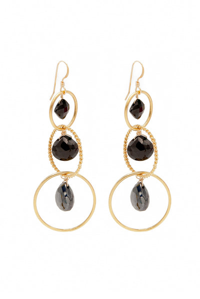 Black Spinel Loop Earrings - Inaya Jewelry