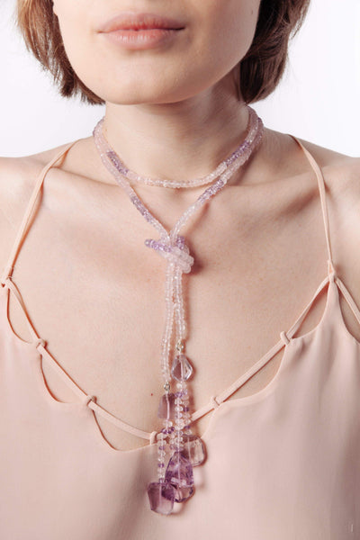 Rose Quartz & Pink Amethyst Lariat Necklace - Inaya Jewelry
