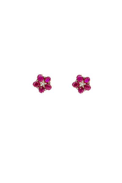 Pink Ruby and Flat Cut Diamonds Stud Earrings - Inaya Jewelry