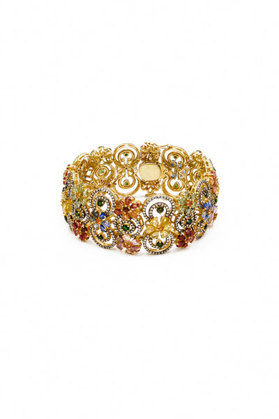 Multicolored Sapphires and Flat Cut Diamonds Bracelet - Inaya Jewelry