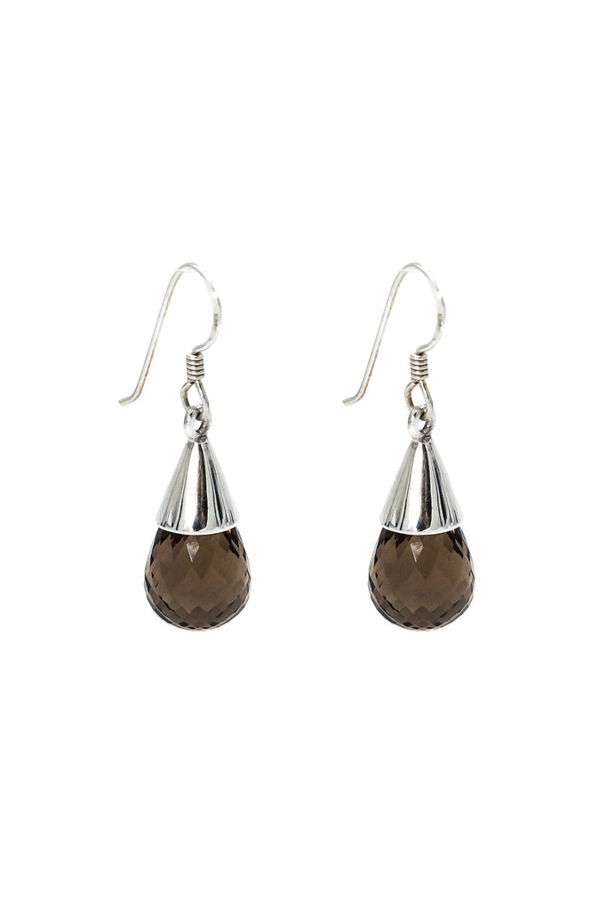 Smoky Topaz Teardrop Earrings - Inaya Jewelry