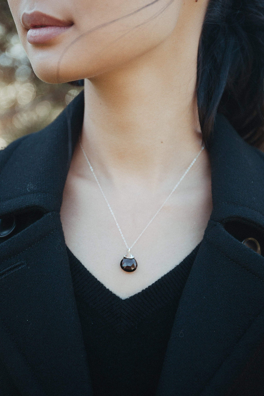 Smoky Drop Pendant - Inaya Jewelry