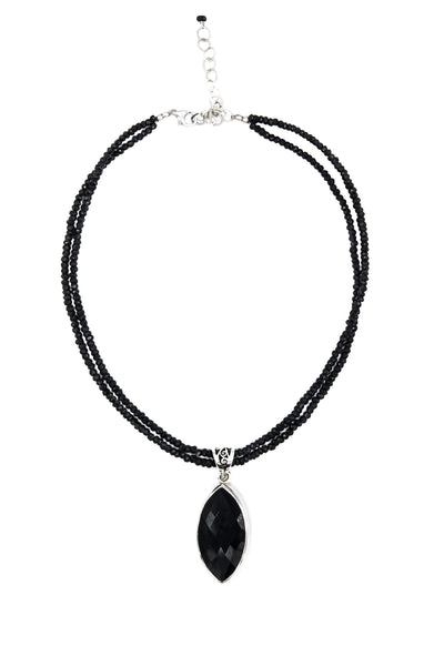 Black Onyx on Black Spinel Pendant - Inaya Jewelry