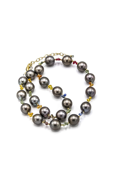 Tahitian Pearls & Multi-color Sapphires Necklace - Inaya Jewelry