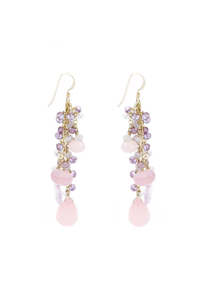 Rose Quartz, Pink Chalcedony & Amethyst Gold Tassel Earrings - Inaya Jewelry