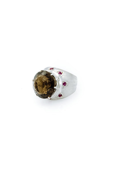 Smoky Topaz & Rubies Ring - Inaya Jewelry