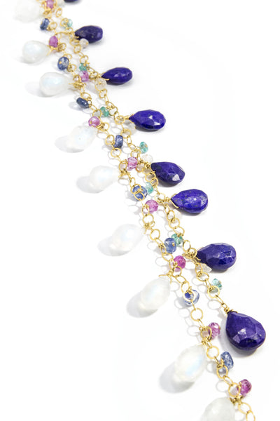 Pink Amethyst, Lapis Lazuli & Moonstone Tie Around Necklace - Inaya Jewelry