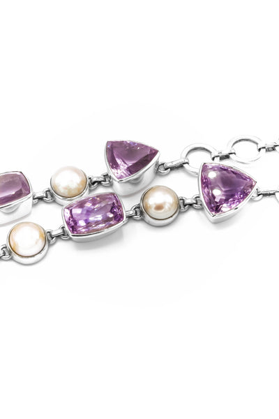 Pink Amethyst, Rose Quartz & Pearls Mosaic Necklace - Inaya Jewelry
