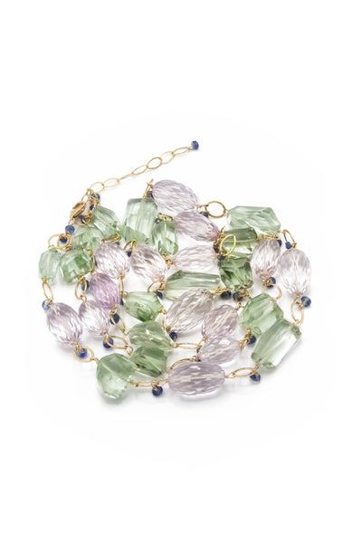 Pink & Green Amethyst, Sapphire Necklace - Inaya Jewelry