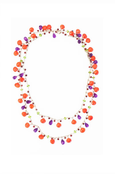 Carnelian, Amethyst, Peridot & Garnet Long Chained Necklace - Inaya Jewelry