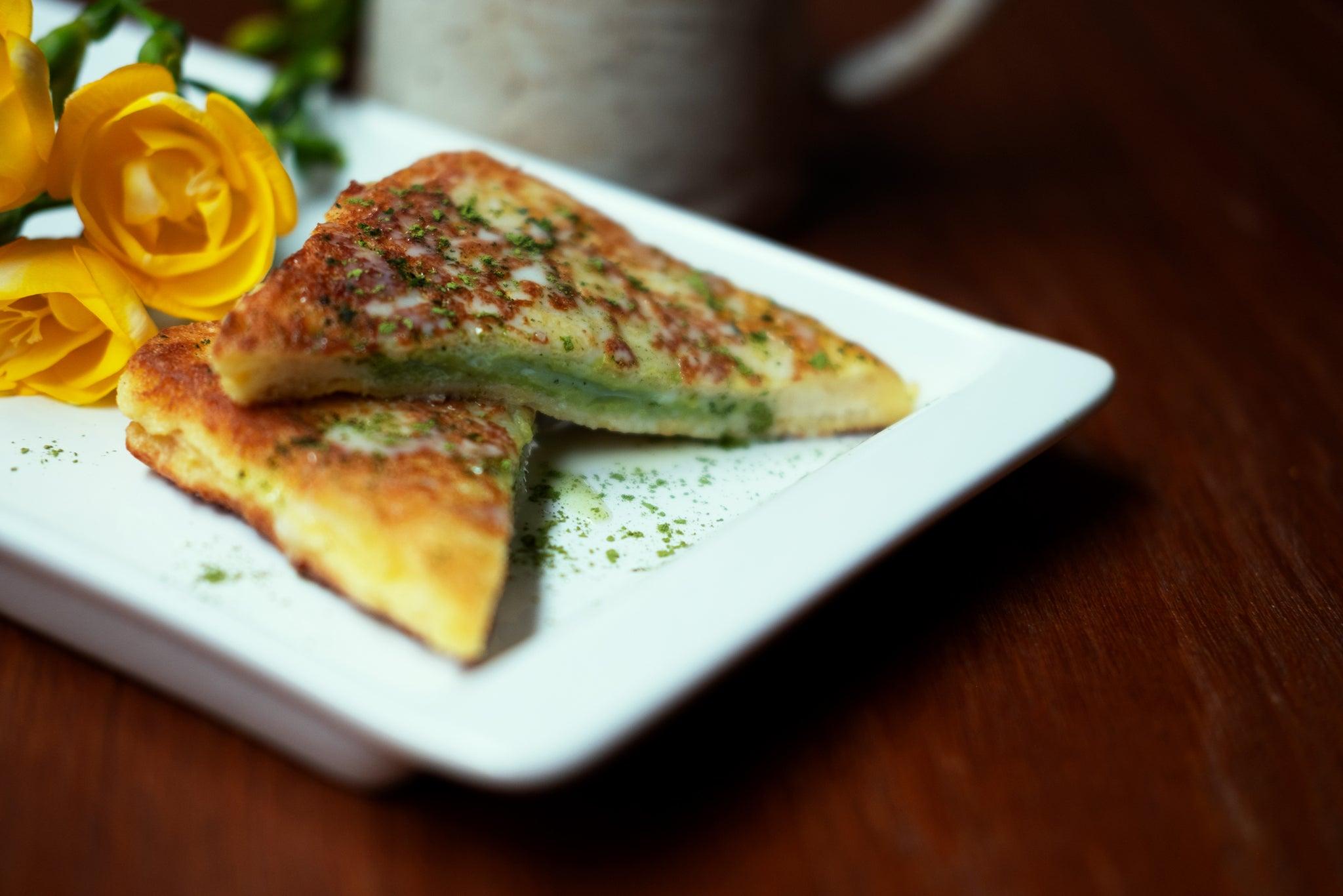 Matcha Latte Stuffed French Toast
