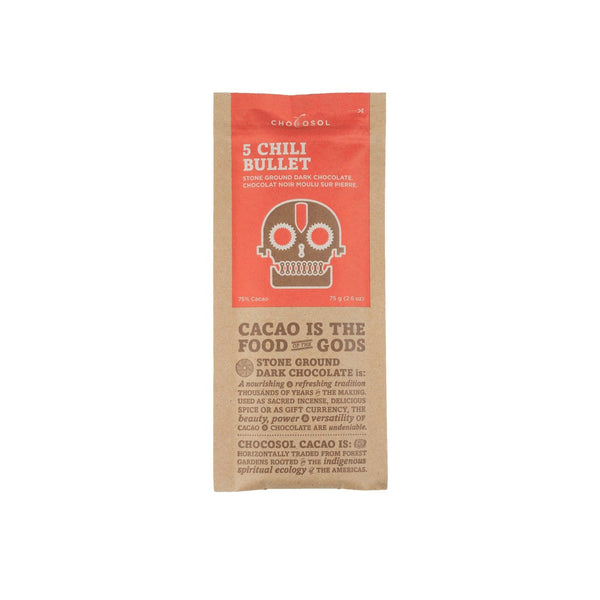 Five Chili + 75% Dark Chocolate Bar - Genuine Tea