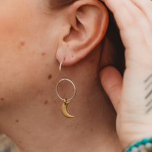 Load image into Gallery viewer, Just A Phase // Mixed Metal Moon Earrings