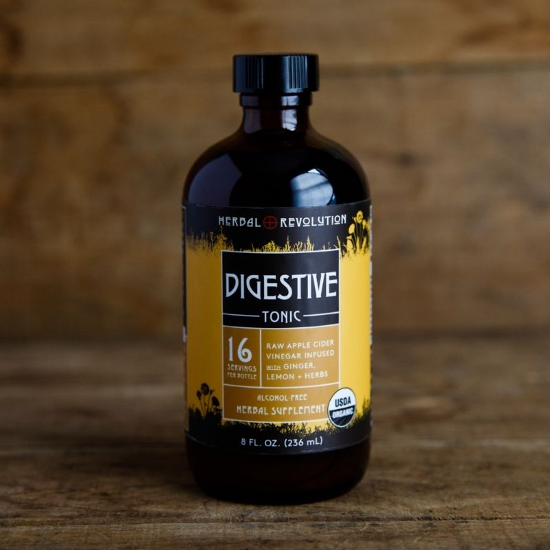 Digestive Tonic: raw apple cider vinegar infused with ginger, lemon and herbs by Herbal Revolution Maine