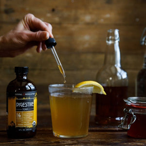 Create delicious healthy mocktails with our Digestive Tonic: raw apple cider vinegar infused with ginger, lemon and herbs