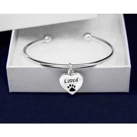 My Cat Equals Loved Heart Charm Bangle Bracelet - Just Love Cats