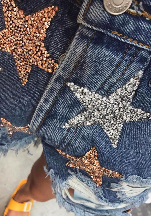 ONE OF A KIND JEWELED STAR SHORTS