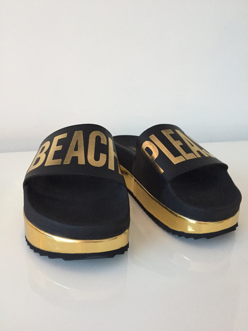 """BEACH PLEASE"" PLATFORM SANDALS"