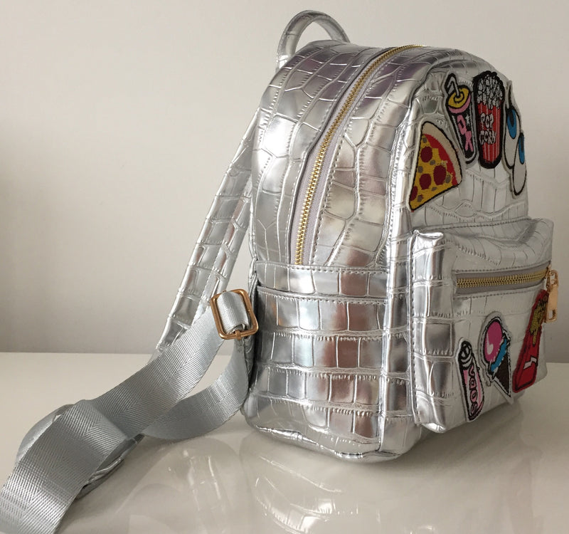 SILVER PATCHWORK BACKPACK