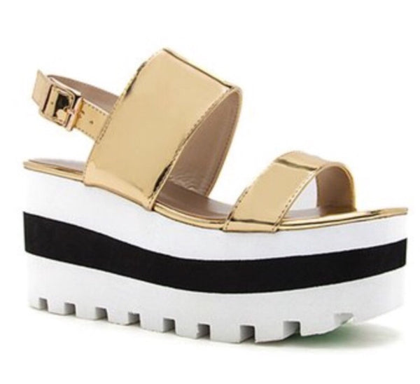 METALLIC GOLD PLATFORM SANDALS