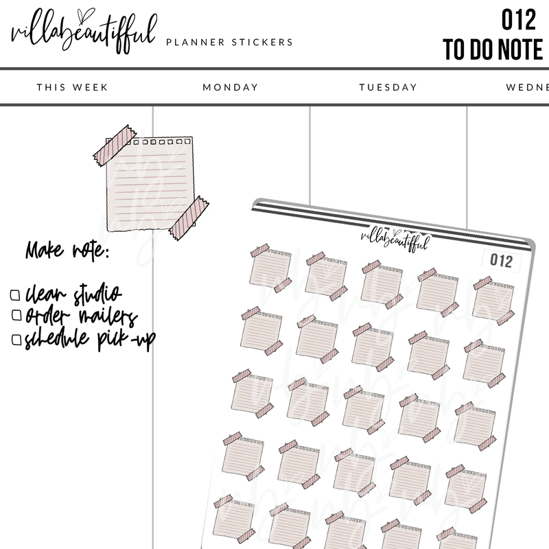 012  To Do Note Planner Stickers