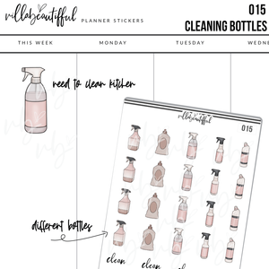 015 Cleaning Bottles Planner Stickers