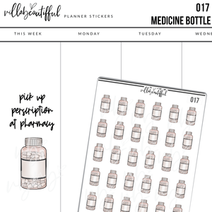 017 Pill Bottle Planner Stickers