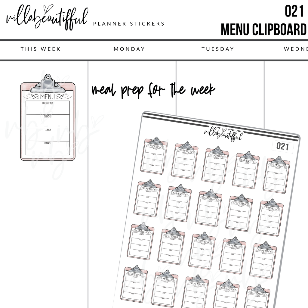 021 Menu Clipboard Planner Stickers