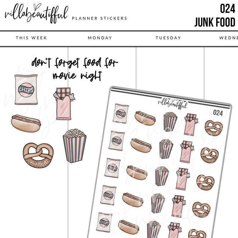 024 Junk food Planner Stickers