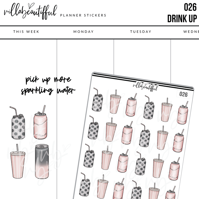 026 Drink Up Planner Stickers
